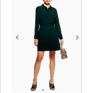 NWT TopShop Pleated Mini Shirt Dress Green Size 10